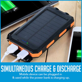 10000mAh Solar Power Bank Dual USB Battery Charger Portable Flashlight Compass