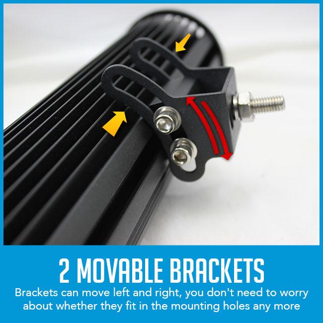 movable brackets light bar