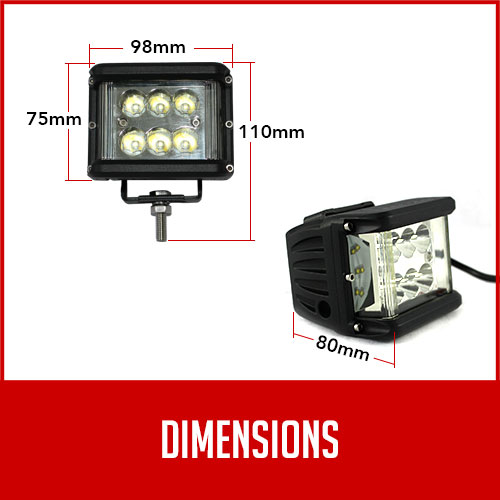 LED worklight dimensions