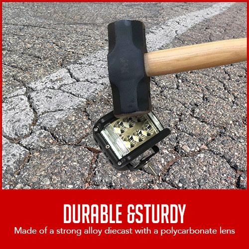 "sledgehammer used on LED headlight with caption ""durable & sturdy"""