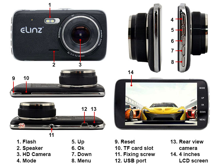 elinz dash cam instructions