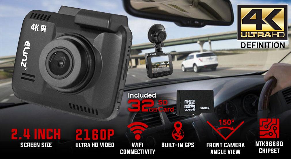 2 4 lcd dash cam car video camera 2160p wifi gps 150 4k. Black Bedroom Furniture Sets. Home Design Ideas