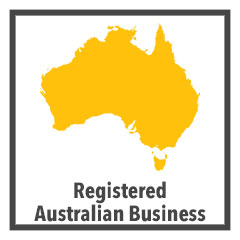 "australian map silhouette with ""registered australian business"" caption"
