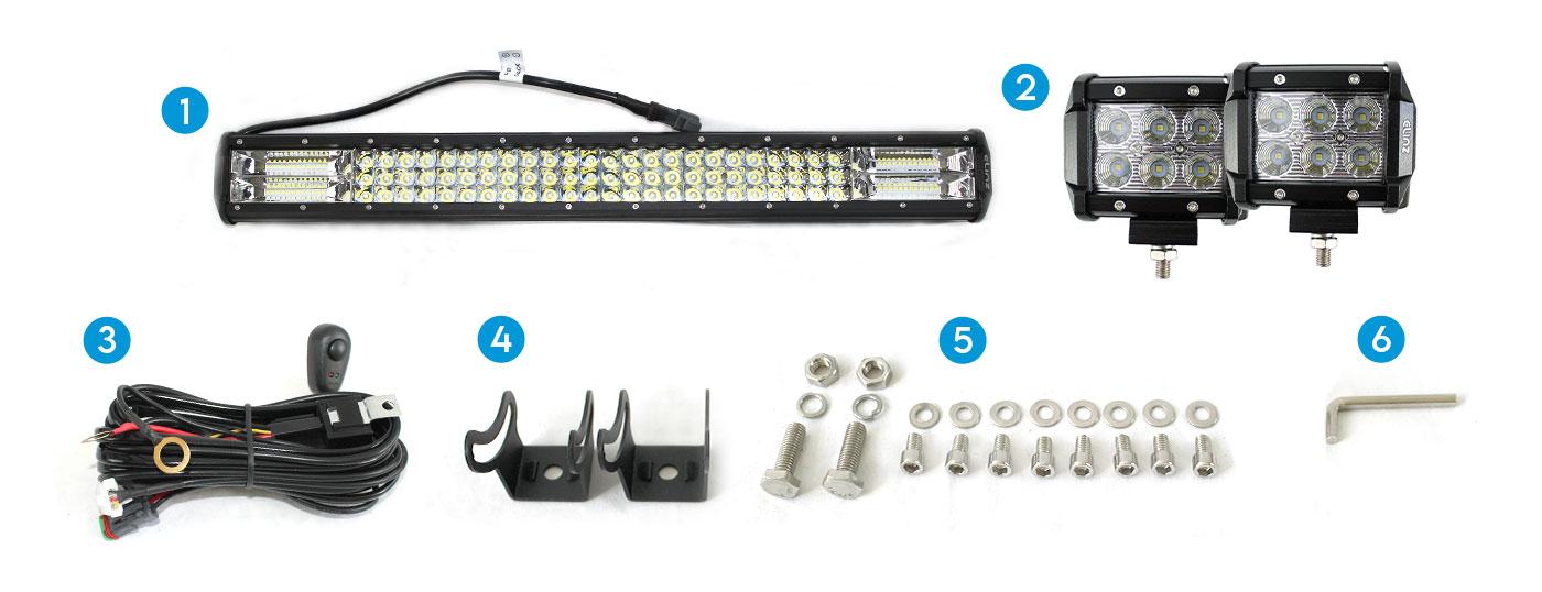"26"" LED Light Bar 3 Rows 2x 18W 4 inch Worklight"