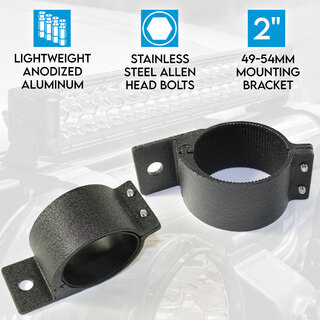 "2"" 49-54mm PAIR Bullbar Mounting Bracket Clamp LED light bar Driving ARB RIGID BLACK"