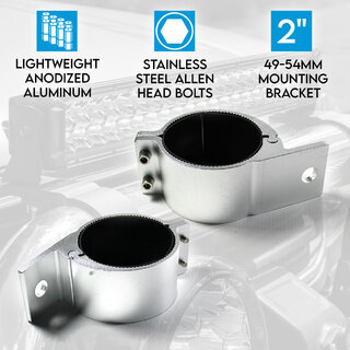"2"" 49-54mm PAIR Bullbar Mounting Bracket Clamp LED light bar Driving ARB RIGID SILVER"