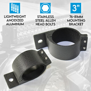 "3"" 76-81mm PAIR Bullbar Mounting Bracket Clamp LED light bar Driving ARB RIGID BLACK"