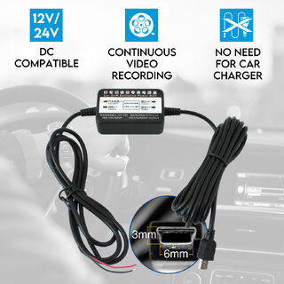 Hard Wire Kit Cable DVR Charger for Car Dash Cam Camera Vehicle 12V 24V Parking Power