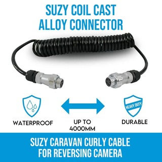 Trailer Cable Suzy Coil Cast Alloy Connector Curly for Reversing Camera Caravan