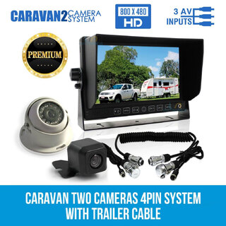 "7"" Monitor HD 12V/24V Reversing CCD 2 Camera 4PIN System Trailer Cable Caravan"
