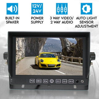 "7"" Monitor HD 12V/24V with 3 AV inputs 4PIN advanced"