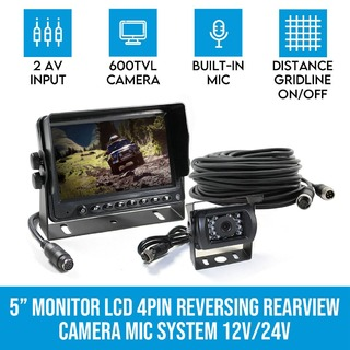 "5"" Monitor LCD 12V/24V Car Reversing Rearview Camera with Mic System Kit 4PIN"