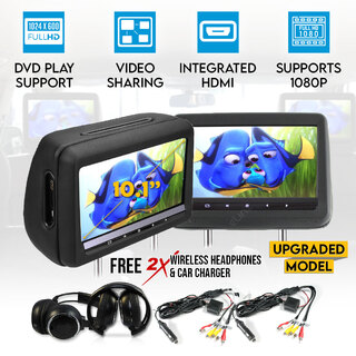 "Headrest 2X10.1"" HD Car Monitor Pillow HDMI DVD Player GAME 1024X600 IR FM SD USB 9"""