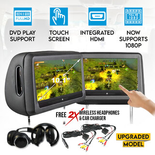 "2X 10.1"" Headrest DVD Player HD Touch Screen Monitor 1024X600 IR FM SD USB 9"""