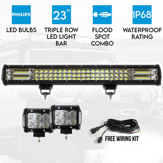 "23"" LED Light Bar 3 Rows Philips bundle 2x 18W 4 inch CREE Driving Worklight"