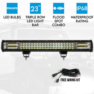 "23"" inch LED Light Bar Work Driving Philips FLOOD SPOT COMBO Offroad 4WD 3 Rows"