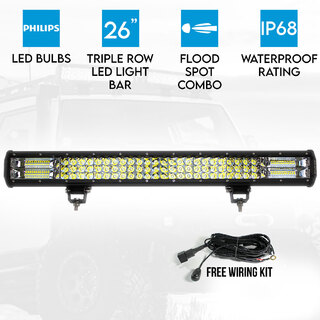 "26"" inch 3 Rows LED Light Bar Work Driving Philips FLOOD SPOT COMBO Offroad 4WD"