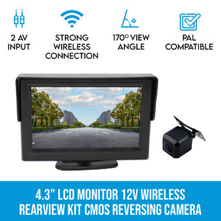 "4.3"" LCD Monitor 12V Wireless car rearview kit CMOS Car Truck reversing camera"