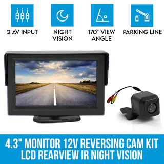 "4.3"" Monitor + 12v Reversing Camera Kit Car Caravan LCD Rearview IR Night Vision"