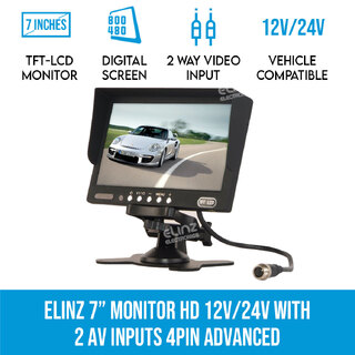 "7"" Monitor HD 12V/24V with 2 AV inputs 4PIN advanced"