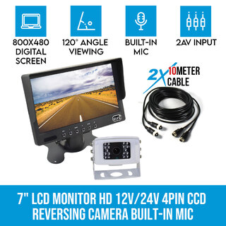 "7"" LCD Monitor HD 12V/24V 4PIN IR Colour CCD Reversing Camera Rearview Built-in Mic"
