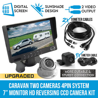 "Caravan Two Camera 4PIN System 7"" Monitor HD 12V/24V Reversing CCD Camera Kit"