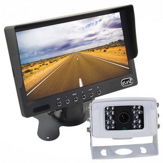 "7"" LCD Monitor HD 12V/24V 4PIN IR CCD Reversing Camera Rearview Built-in Mic WHITE"