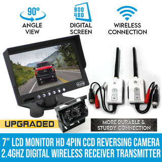 "7""LCD Monitor HD 4PIN CCD Reversing Camera Digital Wireless Receiver Transmitter"