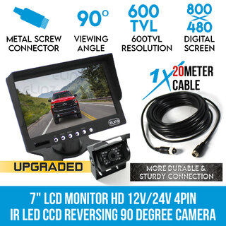 "7"" HD LCD Monitor 12V/24V IR CCD 4PIN Car Reversing Camera Truck Caravan"