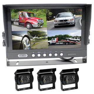 "9"" Splitscreen Monitor 4PIN Colour CCD IR Rearview Reversing 3x Cameras Package"