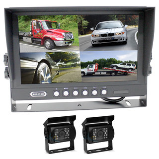"9"" Splitscreen Monitor 4PIN Colour CCD IR Rearview Reversing 2x Cameras Package"
