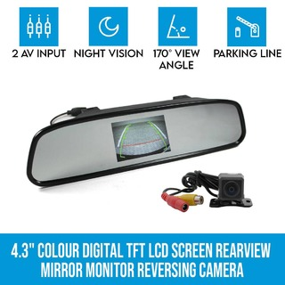 "4.3"" Colour Digital TFT LCD Screen Car Rearview Mirror Monitor Reversing Camera"
