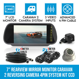 "7"" Rearview Mirror Monitor Caravan 2 Reversing Camera 4PIN System Kit CCD Elinz"