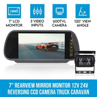 """7"""" Rearview Mirror Monitor 12V 24V Reversing CCD Camera Truck Caravan"""