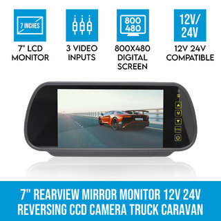 "7"" Rearview Mirror Monitor 12V 24V 3 AV inputs 4PIN advanced"