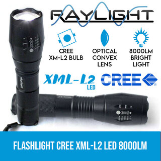 2x Flashlight LED CREE XML-L2 8000LM Rechargeable 4x 18650 Battery Waterproof