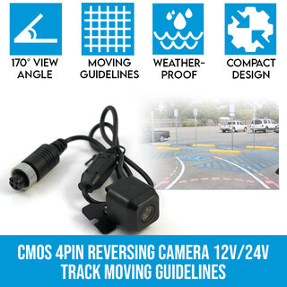 CMOS 4PIN Reversing Camera RearView Night Vision 12V/24V Track Moving Guidelines