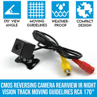 CMOS Reversing Camera Rearview IR Night Vision Track Moving Guidelines RCA 170°