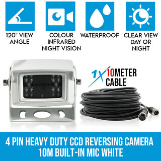 4 PIN Heavy Duty white 12V 24V CCD IR Colour  Reversing Camera Rearview with Built-in Mic