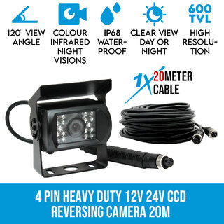 4 PIN Heavy Duty 12V 24V CCD IR Colour Reversing Camera 20M