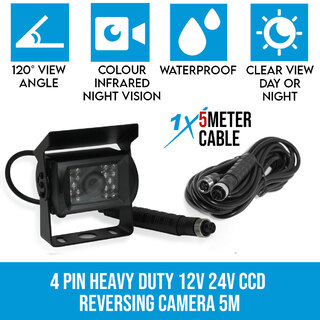 4 PIN Heavy Duty 12V 24V CCD IR Colour Reverse Reversing Camera Rearview 5M