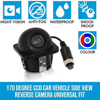 170 degree CCD Car Vehicle Side View Reverse Camera Universal Fit