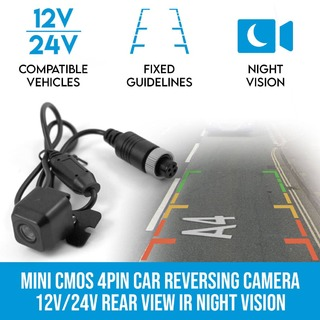 Mini CMOS 4PIN Car Reversing Camera Rear View IR Night Vision 12V/24V