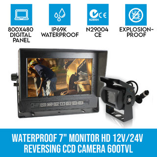 "Waterproof 7"" Monitor HD 12V/24V Reversing CCD Camera Mining Vehicle Truck Caravan Boat"