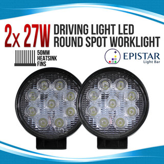 2x 27w Driving Light Epistar LED Round Spot Worklight 12V 24V Offroad Truck 4WD 4X4