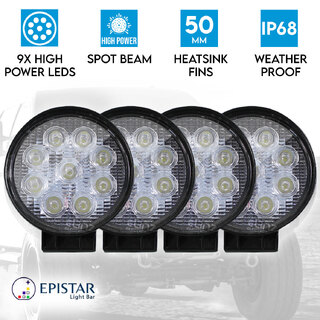 4x 27w Driving Light Epistar LED Round Spot Worklight 12V 24V Offroad Truck 4WD 4X4