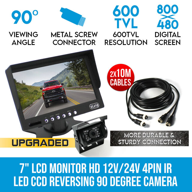 "7""LCD Monitor HD 12V/24V 4PIN IR LED CCD Reversing Camera Car Truck Caravan"