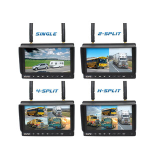 "Elinz Digital Wireless 7"" Quad Monitor Splitscreen CCD Reversing Camera DVR 12V 24V 2.4GHz"
