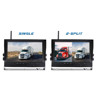 "Digital Wireless 9"" Splitscreen Monitor CCD Reversing Camera 2.4GHz 12V 24V"