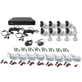 Elinz 8CH CCTV Security Camera System 1080P DVR Face Detection 8x Bullet Cameras Metal Casing